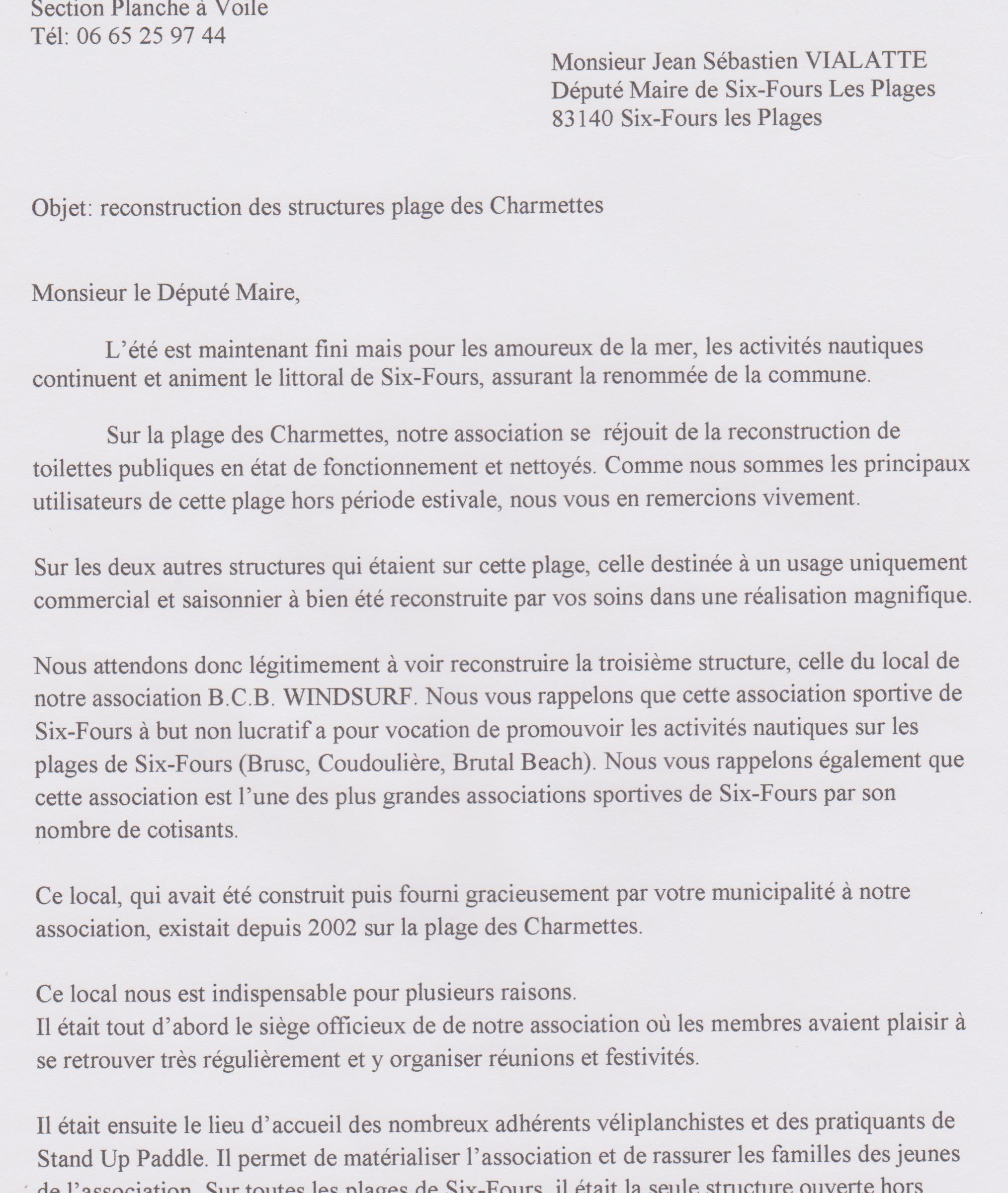 Local lettre au Maire septembre 2016 001